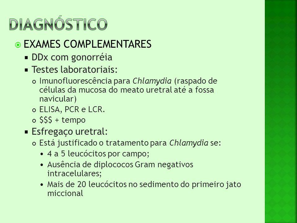  EXAMES COMPLEMENTARES  DDx com gonorréia  Testes laboratoriais: Imunofluorescência para Chlamydia (raspado de células da mucosa do meato uretral a