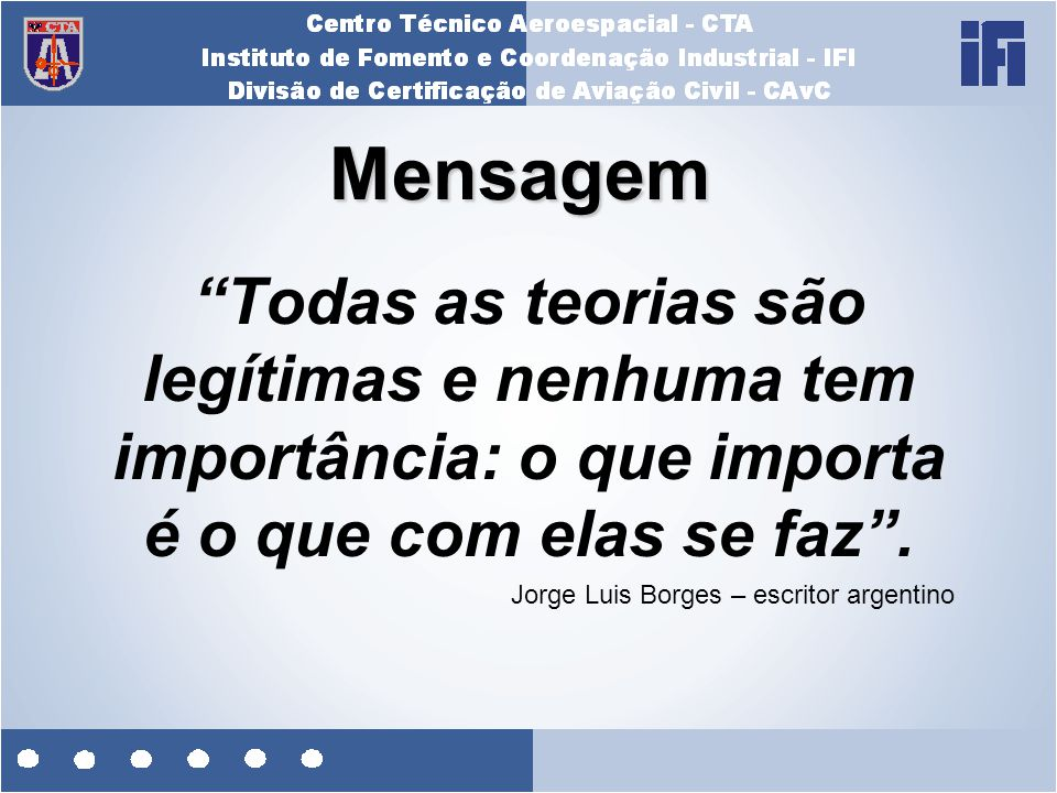 """Mensagem """"Todas as teorias são legítimas e nenhuma tem importância: o que importa é o que com elas se faz"""". Jorge Luis Borges – escritor argentino"""
