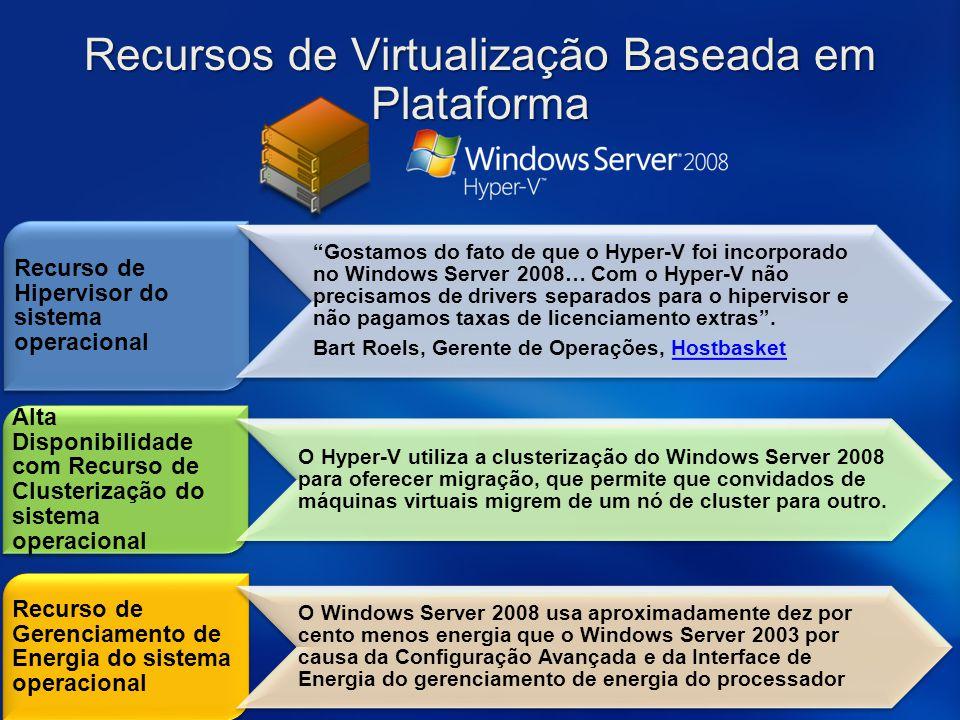 """Recurso de Hipervisor do sistema operacional """"Gostamos do fato de que o Hyper-V foi incorporado no Windows Server 2008… Com o Hyper-V não precisamos d"""