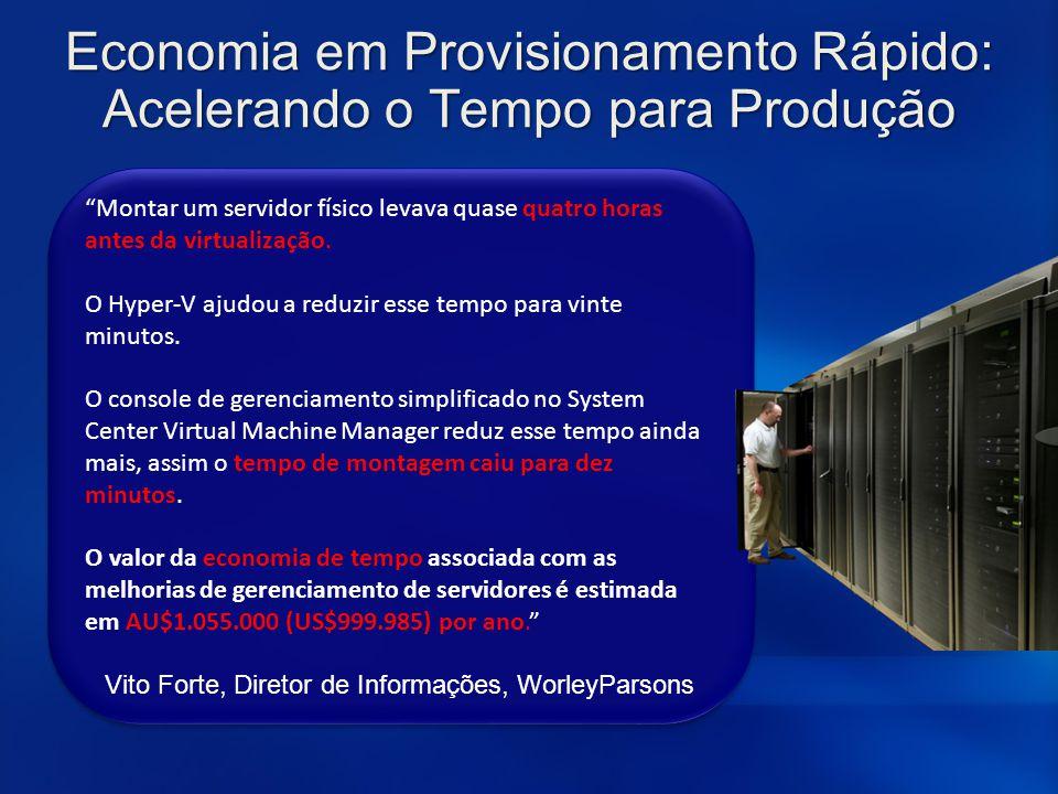 """Economia em Provisionamento Rápido: Acelerando o Tempo para Produção """"Montar um servidor físico levava quase quatro horas antes da virtualização. O Hy"""