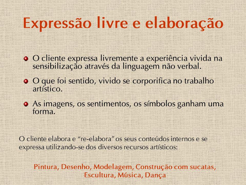 Expressão livre e elaboração O cliente expressa livremente a experiência vivida na sensibilização através da linguagem não verbal. O que foi sentido,