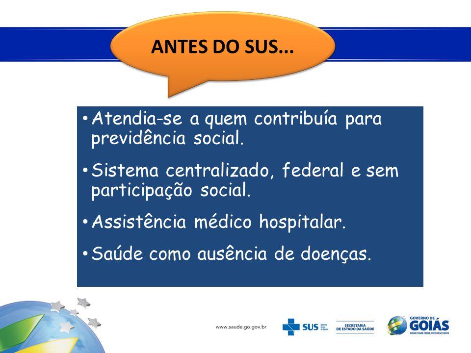 • Atendia-se a quem contribuía para previdência social. • Sistema centralizado, federal e sem participação social. • Assistência médico hospitalar. •