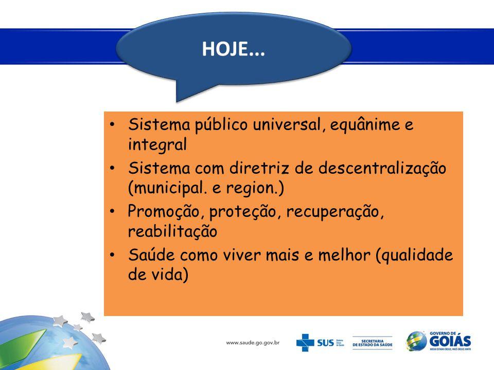 • Sistema público universal, equânime e integral • Sistema com diretriz de descentralização (municipal. e region.) • Promoção, proteção, recuperação,