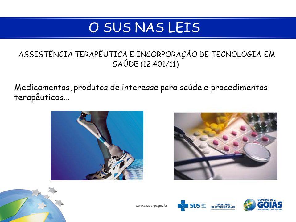 O SUS NAS LEIS ASSISTÊNCIA TERAPÊUTICA E INCORPORAÇÃO DE TECNOLOGIA EM SAÚDE (12.401/11) Medicamentos, produtos de interesse para saúde e procedimento