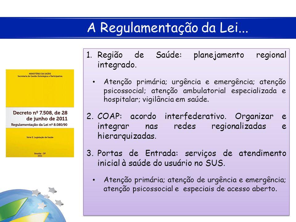 A Regulamentação da Lei... 1.Região de Saúde: planejamento regional integrado. • Atenção primária; urgência e emergência; atenção psicossocial; atençã
