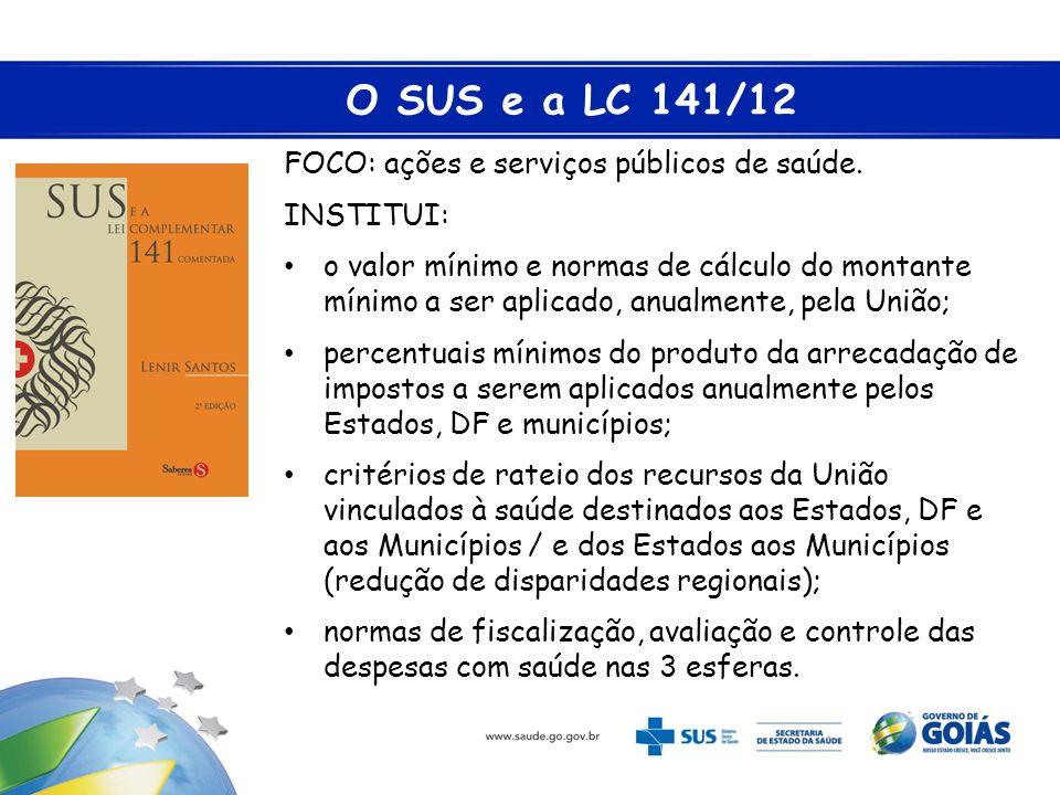 O SUS e a LC 141/12 FOCO: ações e serviços públicos de saúde. INSTITUI: • o valor mínimo e normas de cálculo do montante mínimo a ser aplicado, anualm