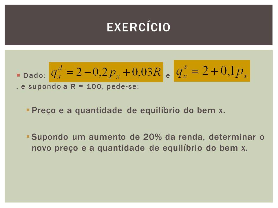 EXERCÍCIO  Dado: e, e supondo a R = 100, pede-se:  Preço e a quantidade de equilíbrio do bem x.