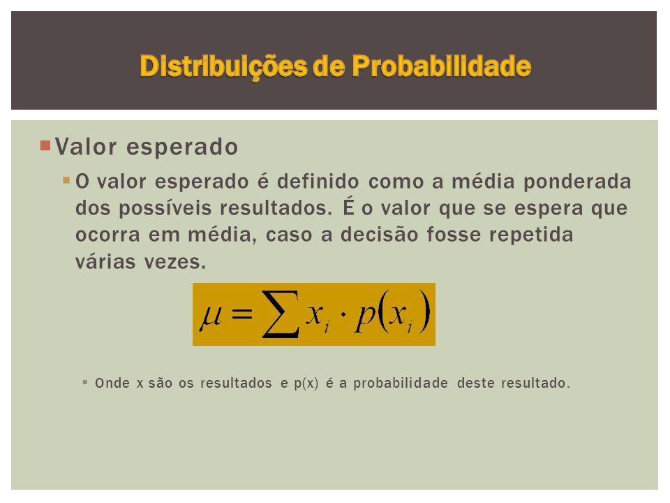  Valor esperado  O valor esperado é definido como a média ponderada dos possíveis resultados.