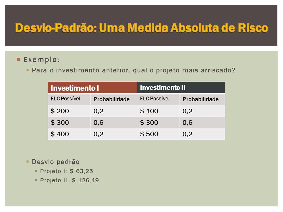  Exemplo:  Para o investimento anterior, qual o projeto mais arriscado.