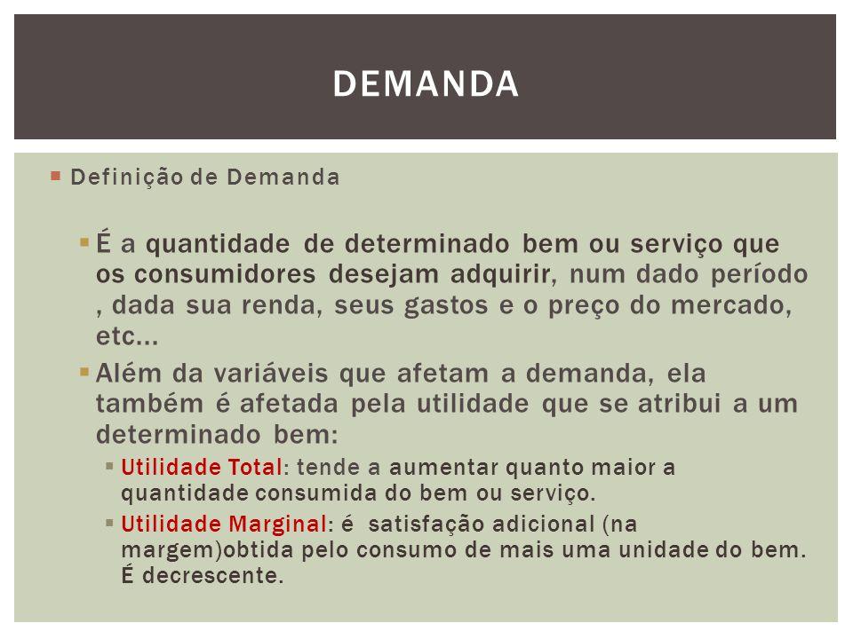 DEMANDA  Definição de Demanda  É a quantidade de determinado bem ou serviço que os consumidores desejam adquirir, num dado período, dada sua renda, seus gastos e o preço do mercado, etc...