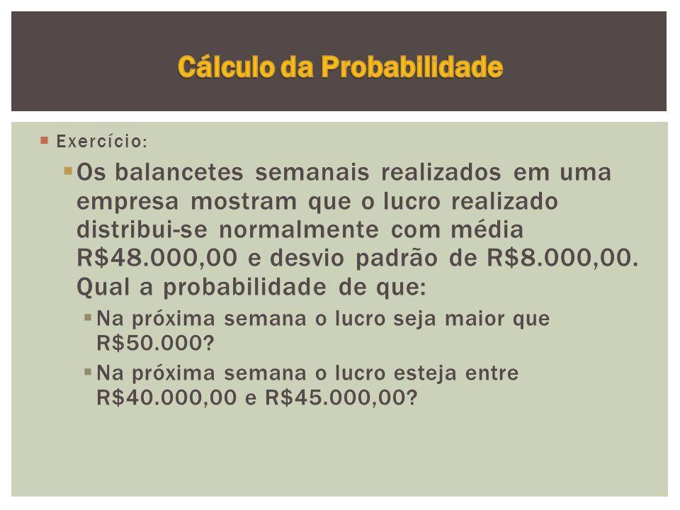  Exercício:  Os balancetes semanais realizados em uma empresa mostram que o lucro realizado distribui-se normalmente com média R$48.000,00 e desvio padrão de R$8.000,00.