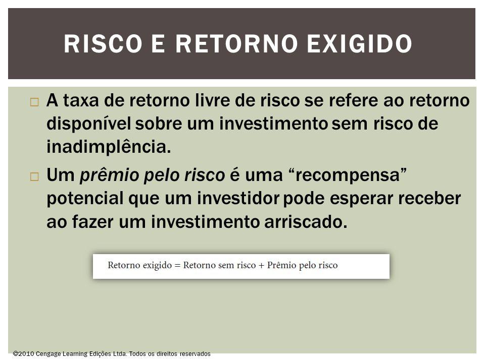RISCO E RETORNO EXIGIDO  2010 Cengage Learning Edições Ltda.