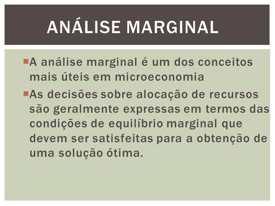 ANÁLISE MARGINAL  A análise marginal é um dos conceitos mais úteis em microeconomia  As decisões sobre alocação de recursos são geralmente expressas em termos das condições de equilíbrio marginal que devem ser satisfeitas para a obtenção de uma solução ótima.
