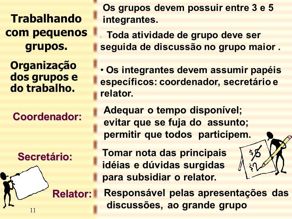 11 • Toda atividade de grupo deve ser seguida de discussão no grupo maior. •Os integrantes devem assumir papéis específicos: coordenador, secretário e