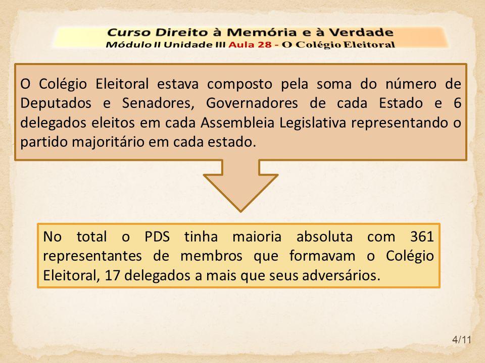 4/11 No total o PDS tinha maioria absoluta com 361 representantes de membros que formavam o Colégio Eleitoral, 17 delegados a mais que seus adversários.