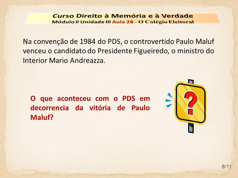 6/11 O que aconteceu com o PDS em decorrencia da vitória de Paulo Maluf.