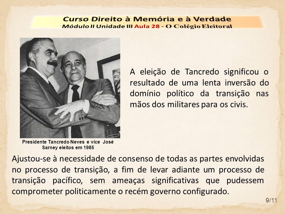 9/11 Presidente Tancredo Neves e vice José Sarney eleitos em 1985 A eleição de Tancredo significou o resultado de uma lenta inversão do domínio político da transição nas mãos dos militares para os civis.