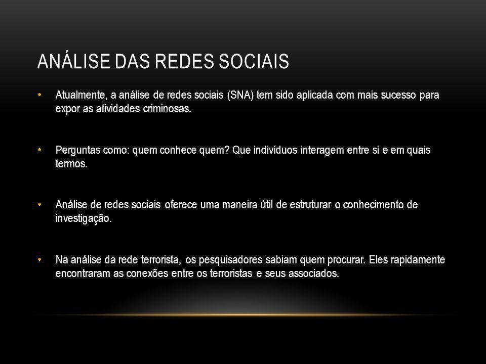 ANÁLISE DAS REDES SOCIAIS • Atualmente, a análise de redes sociais (SNA) tem sido aplicada com mais sucesso para expor as atividades criminosas. • Per