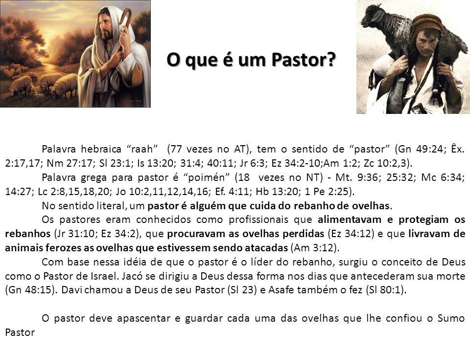"""O que é um Pastor? Palavra hebraica """"raah"""" (77 vezes no AT), tem o sentido de """"pastor"""" (Gn 49:24; Êx. 2:17,17; Nm 27:17; Sl 23:1; Is 13:20; 31:4; 40:1"""