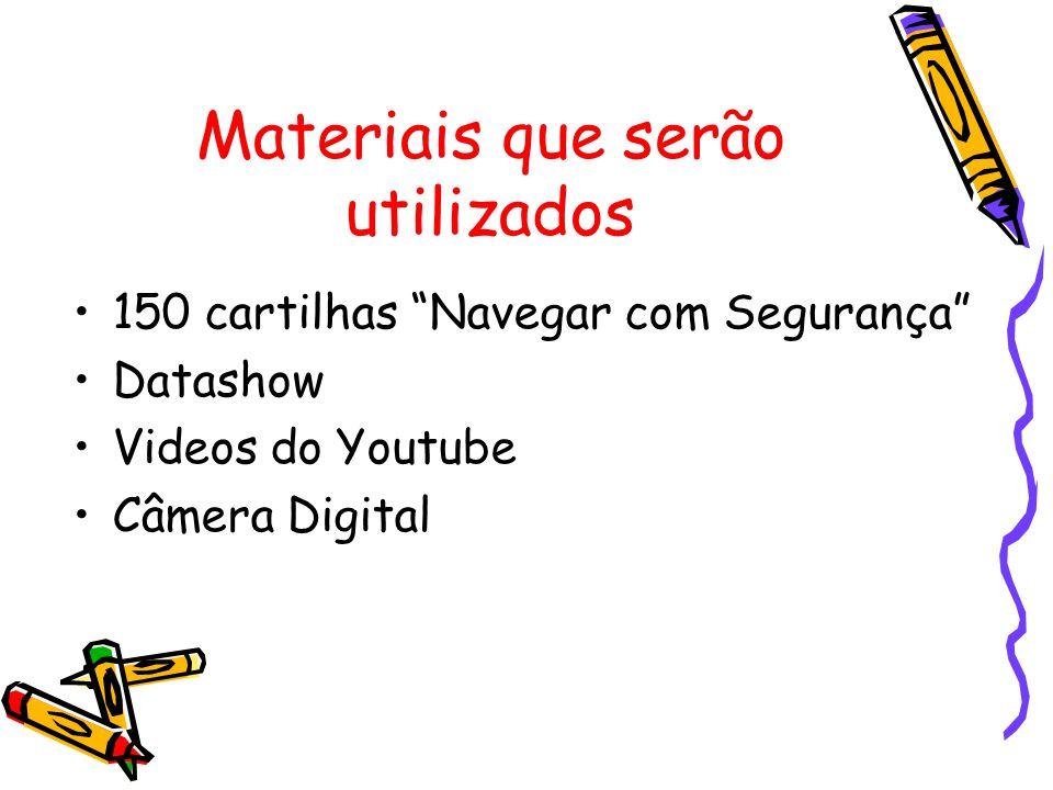 Materiais que serão utilizados •150 cartilhas Navegar com Segurança •Datashow •Videos do Youtube •Câmera Digital