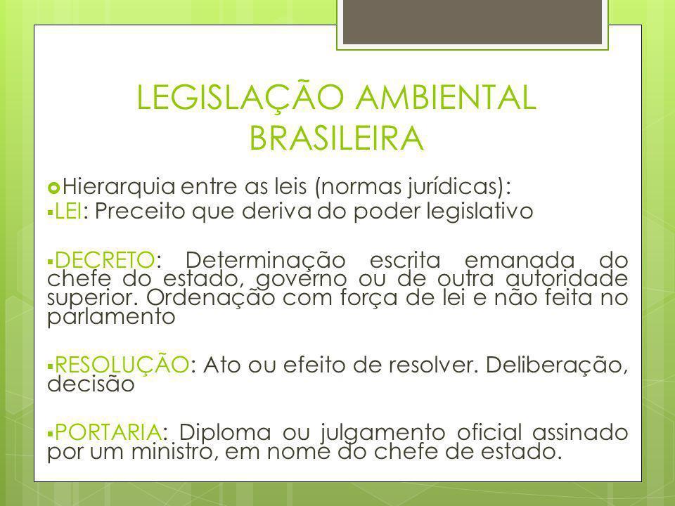 LEGISLAÇÃO AMBIENTAL BRASILEIRA  Hierarquia entre as leis (normas jurídicas):  LEI: Preceito que deriva do poder legislativo  DECRETO: Determinação