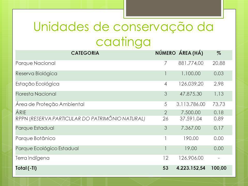 Unidades de conservação da caatinga CATEGORIANÚMEROÁREA (HÁ)% Parque Nacional7881.774,0020,88 Reserva Biológica11.100,000,03 Estação Ecológica4126.039