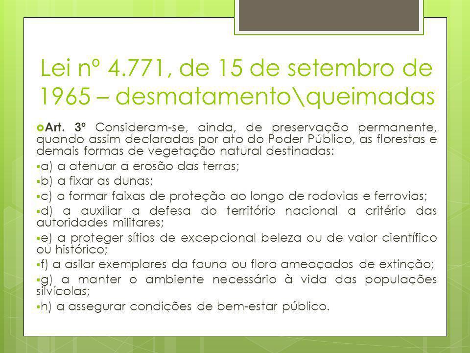 Lei nº 4.771, de 15 de setembro de 1965 – desmatamento\queimadas  Art. 3º Consideram-se, ainda, de preservação permanente, quando assim declaradas po