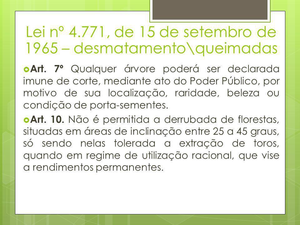 Lei nº 4.771, de 15 de setembro de 1965 – desmatamento\queimadas  Art. 7º Qualquer árvore poderá ser declarada imune de corte, mediante ato do Poder