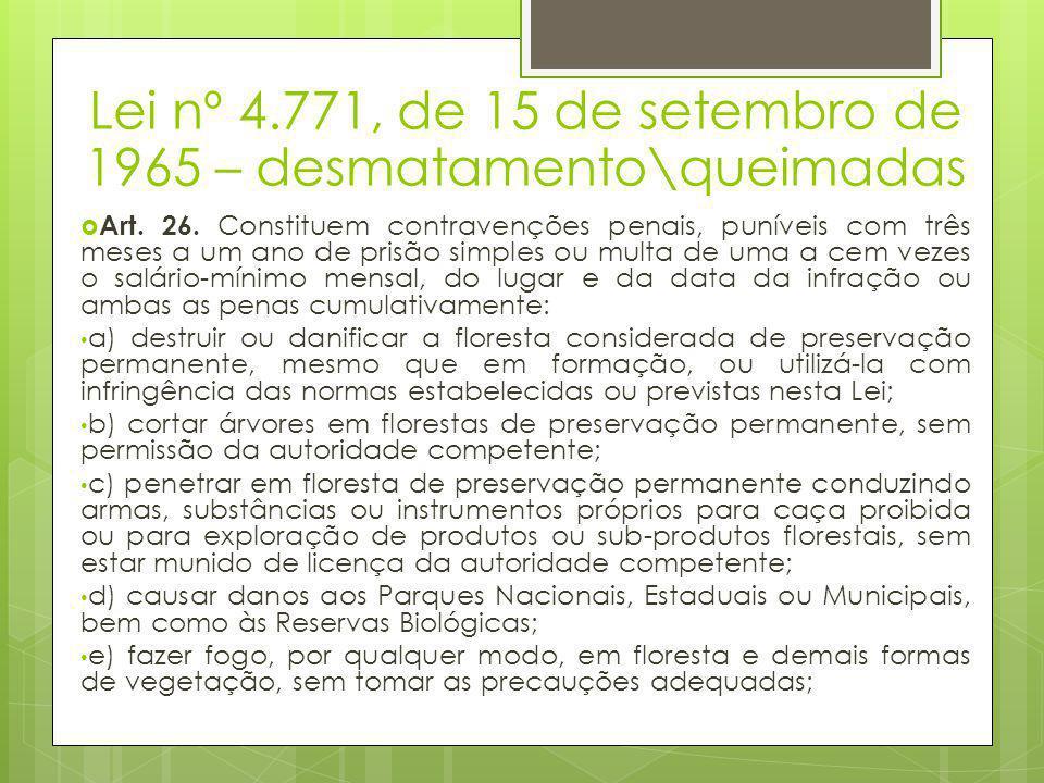 Lei nº 4.771, de 15 de setembro de 1965 – desmatamento\queimadas  Art. 26. Constituem contravenções penais, puníveis com três meses a um ano de prisã