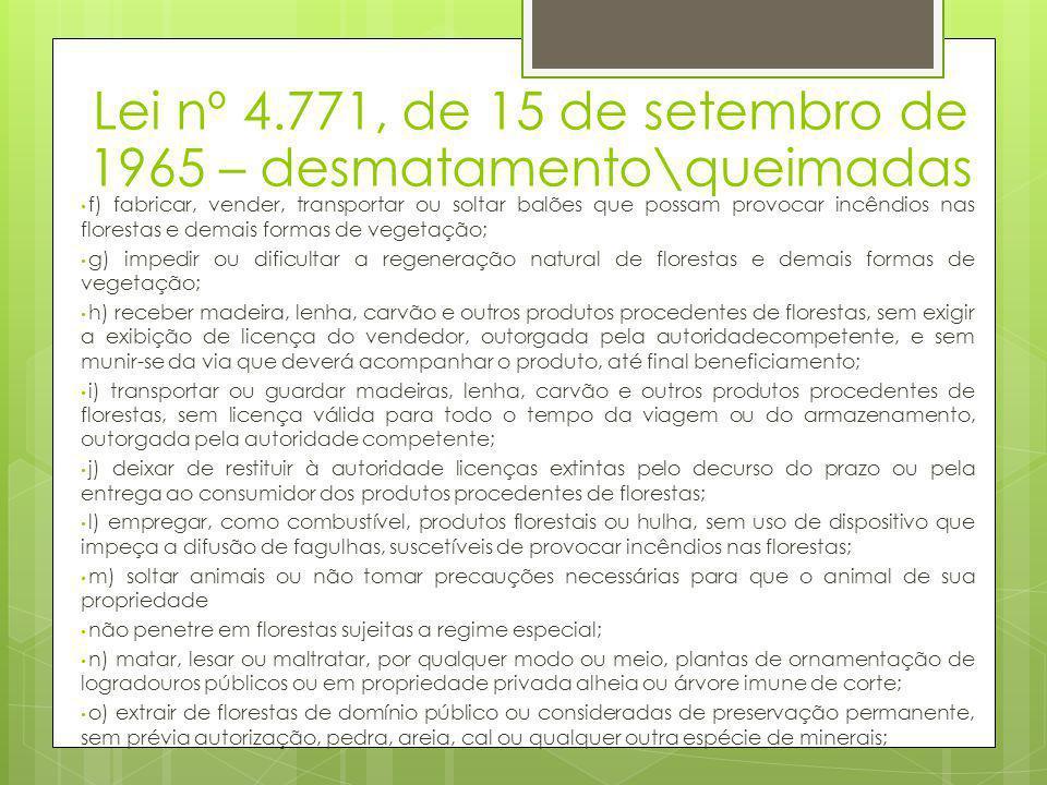 Lei nº 4.771, de 15 de setembro de 1965 – desmatamento\queimadas • f) fabricar, vender, transportar ou soltar balões que possam provocar incêndios nas