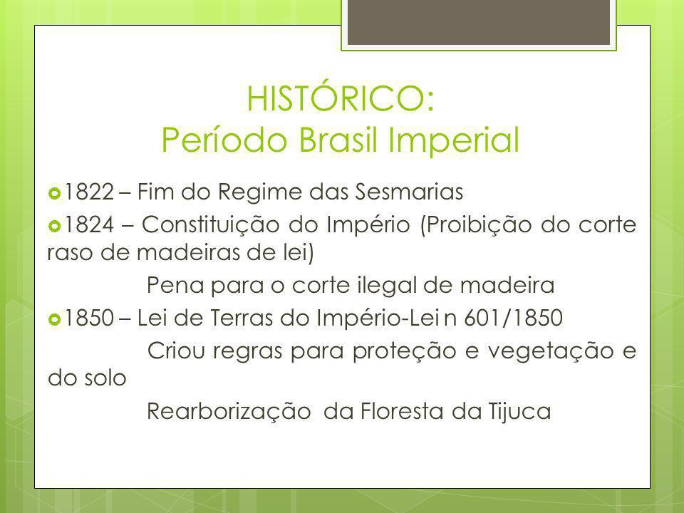 HISTÓRICO: Período Brasil Imperial  1822 – Fim do Regime das Sesmarias  1824 – Constituição do Império (Proibição do corte raso de madeiras de lei)