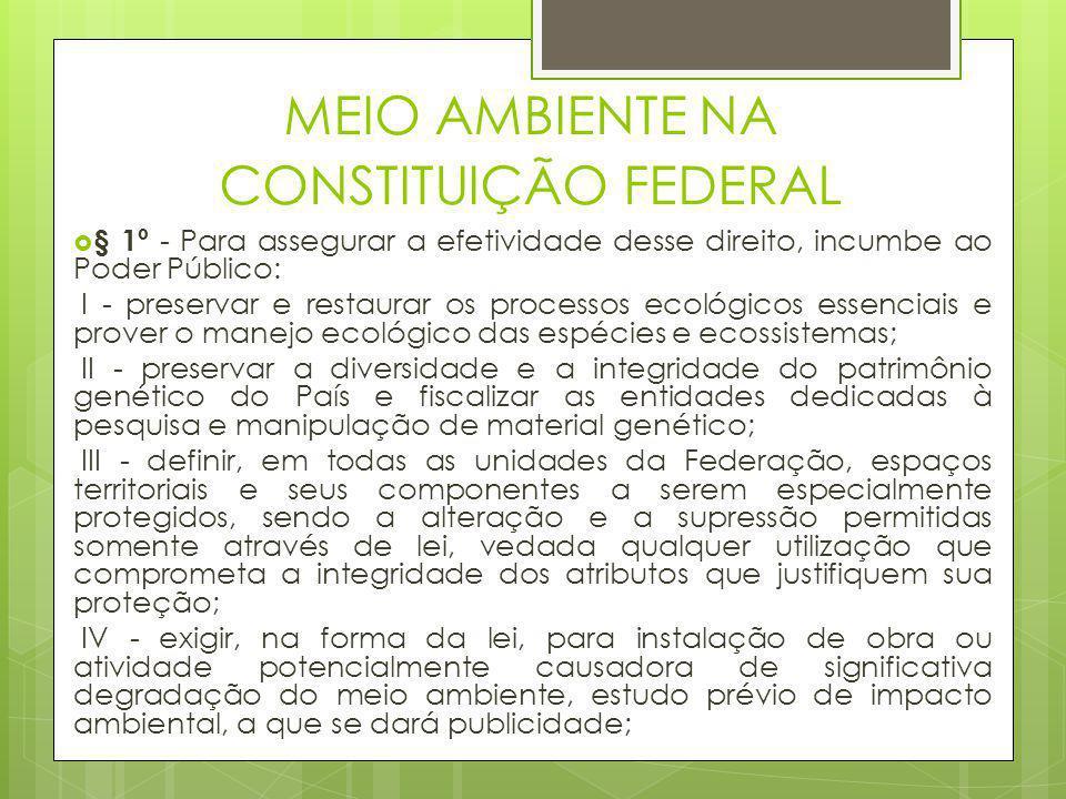 MEIO AMBIENTE NA CONSTITUIÇÃO FEDERAL  § 1º - Para assegurar a efetividade desse direito, incumbe ao Poder Público: I - preservar e restaurar os proc