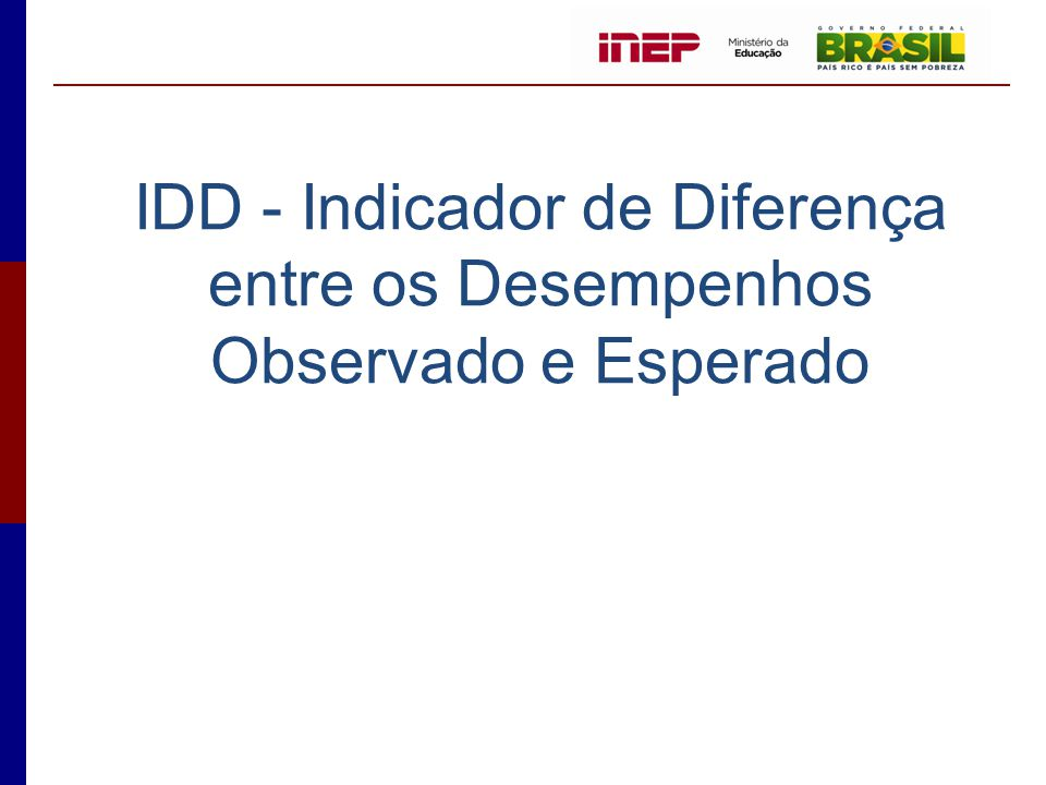 IDD - Indicador de Diferença entre os Desempenhos Observado e Esperado
