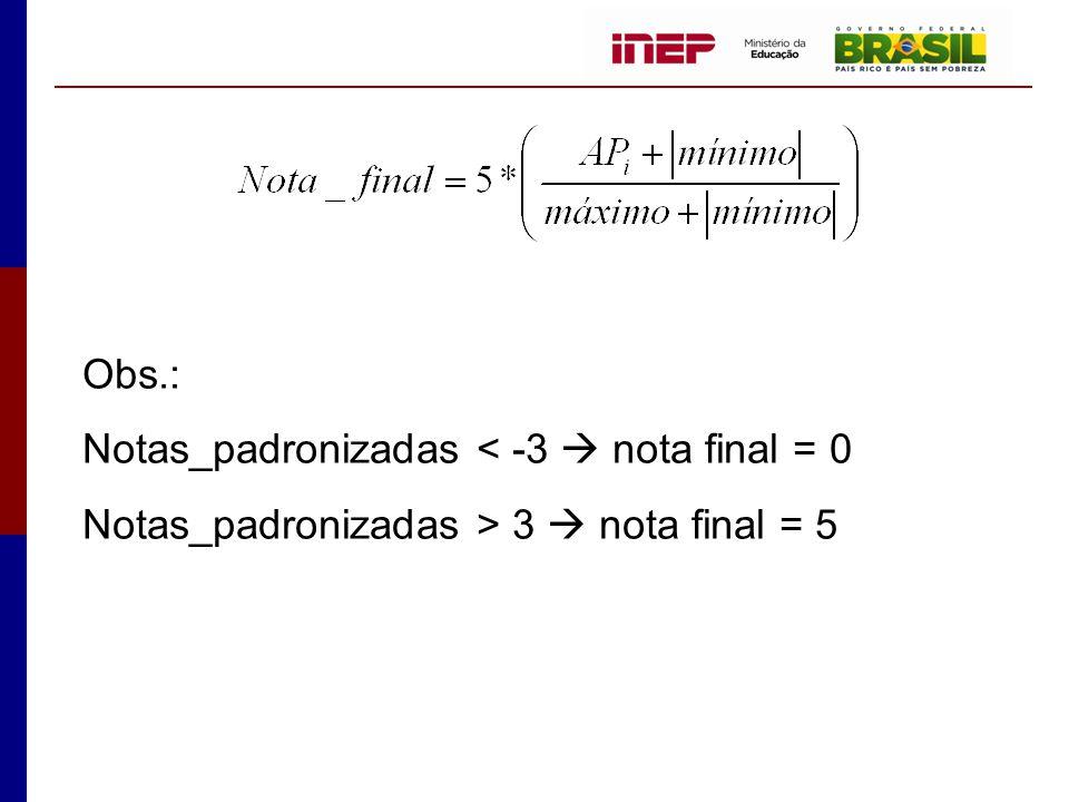 Obs.: Notas_padronizadas < -3  nota final = 0 Notas_padronizadas > 3  nota final = 5
