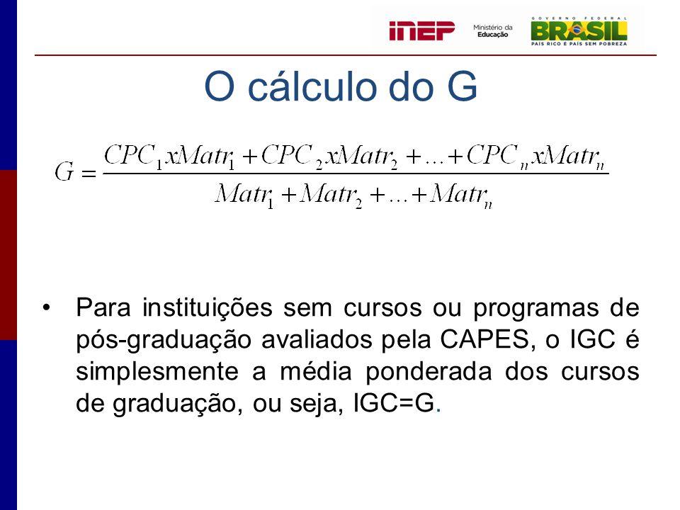 O cálculo do G •Para instituições sem cursos ou programas de pós-graduação avaliados pela CAPES, o IGC é simplesmente a média ponderada dos cursos de