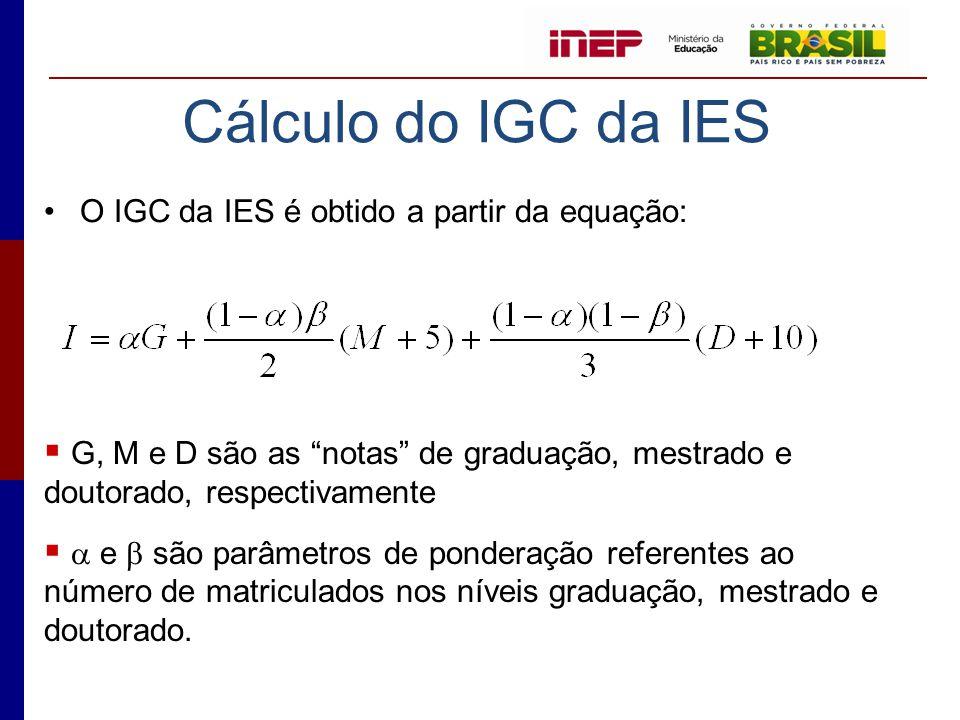 """Cálculo do IGC da IES •O IGC da IES é obtido a partir da equação:  G, M e D são as """"notas"""" de graduação, mestrado e doutorado, respectivamente   e"""