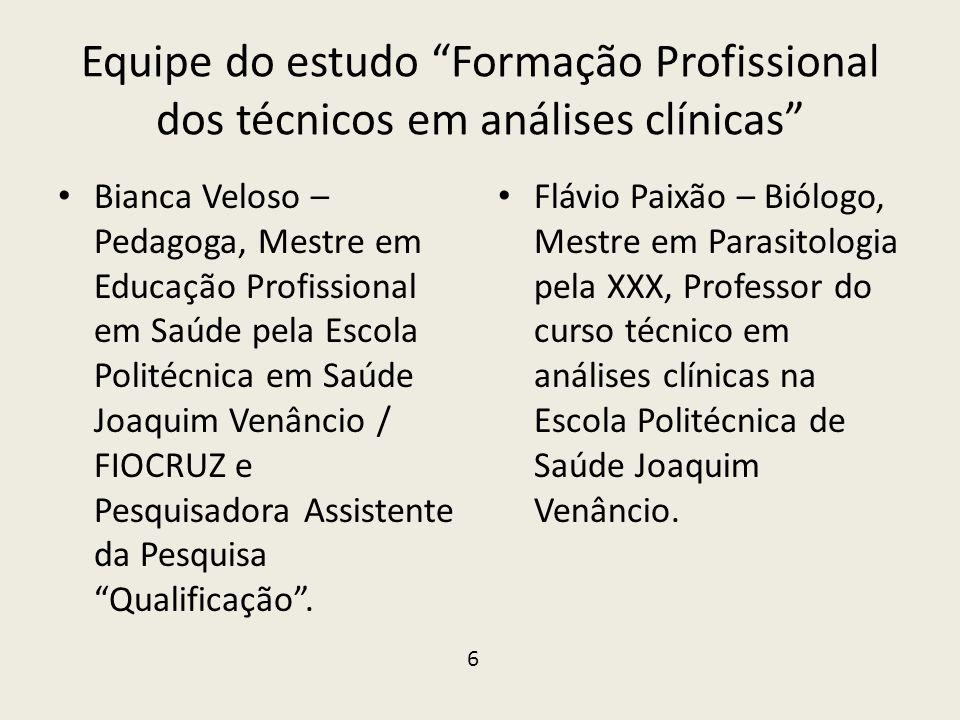 """Equipe do estudo """"Formação Profissional dos técnicos em análises clínicas"""" • Bianca Veloso – Pedagoga, Mestre em Educação Profissional em Saúde pela E"""