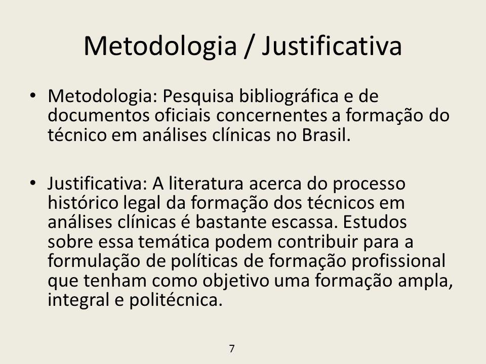 Metodologia / Justificativa • Metodologia: Pesquisa bibliográfica e de documentos oficiais concernentes a formação do técnico em análises clínicas no