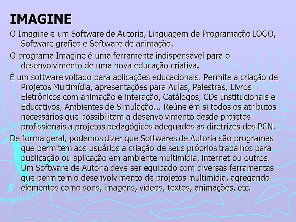IMAGINE O Imagine é um Software de Autoria, Linguagem de Programação LOGO, Software gráfico e Software de animação. O programa Imagine é uma ferrament