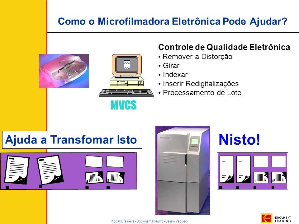 Kodak Brasileira - Document Imaging - Cássio Vaquero Exemplo de Microfilme Microfilmado em Rotativa. Note os intervalos e a variação de densidade As m