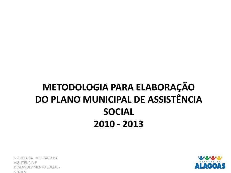 SECRETARIA DE ESTADO DA ASSISTÊNCIA E DESENVOLVIMENTO SOCIAL - SEADES METODOLOGIA PARA ELABORAÇÃO DO PLANO MUNICIPAL DE ASSISTÊNCIA SOCIAL 2010 - 2013