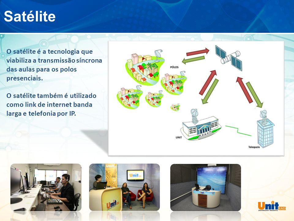 Satélite O satélite é a tecnologia que viabiliza a transmissão síncrona das aulas para os polos presenciais.