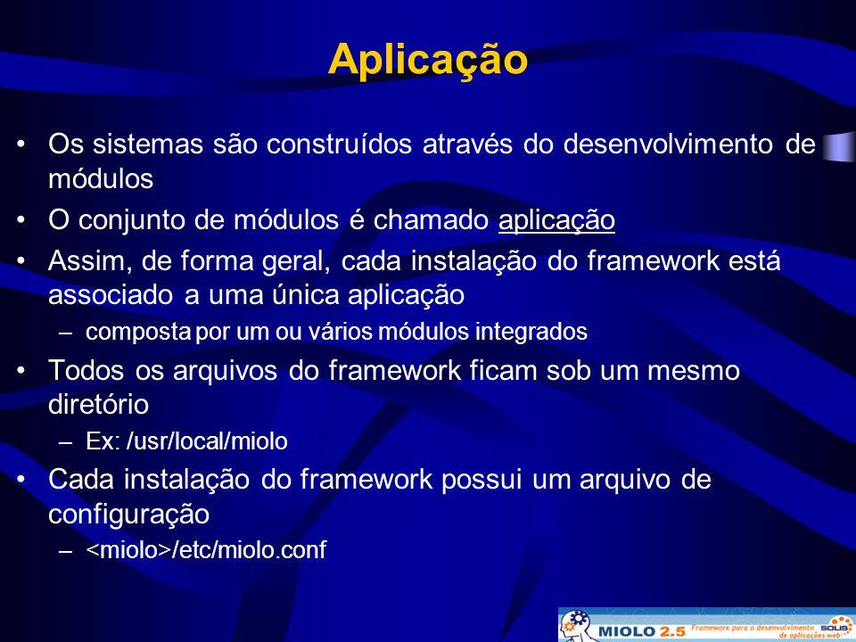 Aplicação •Os sistemas são construídos através do desenvolvimento de módulos •O conjunto de módulos é chamado aplicação •Assim, de forma geral, cada i