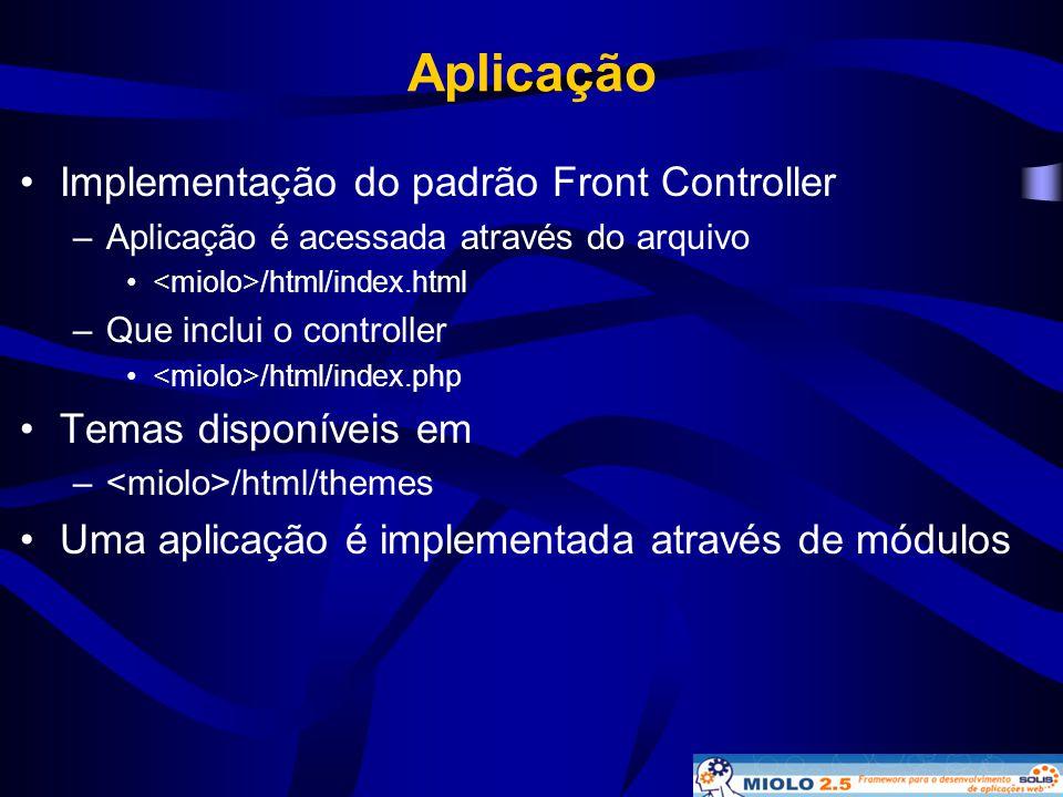 Aplicação •Implementação do padrão Front Controller –Aplicação é acessada através do arquivo • /html/index.html –Que inclui o controller • /html/index