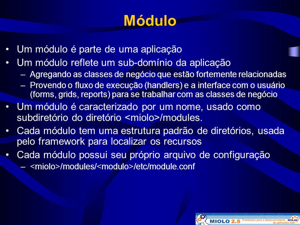 Módulo •Um módulo é parte de uma aplicação •Um módulo reflete um sub-domínio da aplicação –Agregando as classes de negócio que estão fortemente relaci