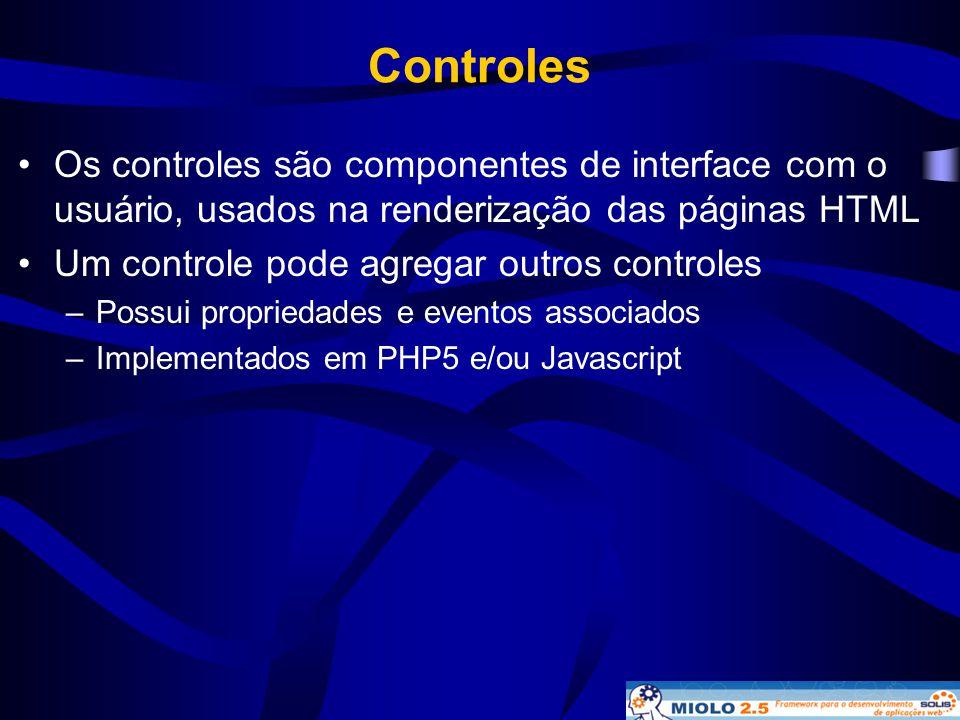 Controles •Os controles são componentes de interface com o usuário, usados na renderização das páginas HTML •Um controle pode agregar outros controles