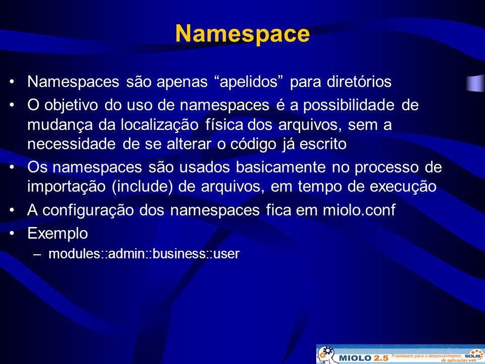 """Namespace •Namespaces são apenas """"apelidos"""" para diretórios •O objetivo do uso de namespaces é a possibilidade de mudança da localização física dos ar"""