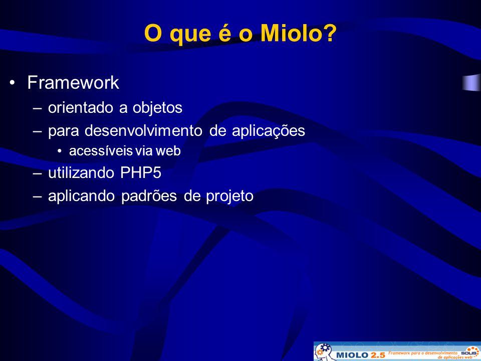 O que é o Miolo? •Framework –orientado a objetos –para desenvolvimento de aplicações •acessíveis via web –utilizando PHP5 –aplicando padrões de projet