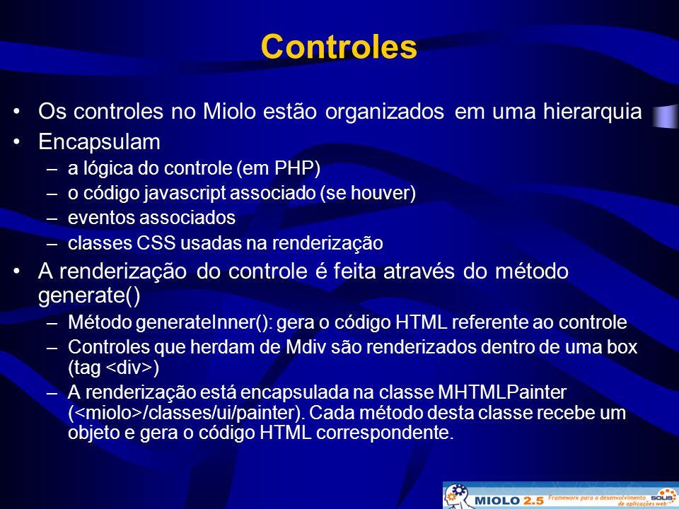 Controles •Os controles no Miolo estão organizados em uma hierarquia •Encapsulam –a lógica do controle (em PHP) –o código javascript associado (se hou