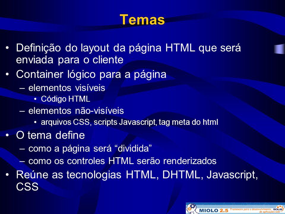 Temas •Definição do layout da página HTML que será enviada para o cliente •Container lógico para a página –elementos visíveis •Código HTML –elementos